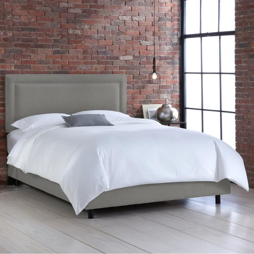 Linen Grey Full Nail Button Border Bed