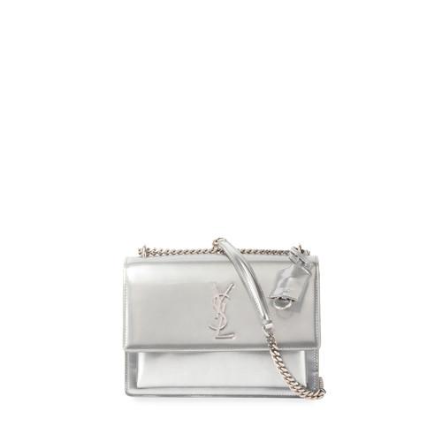 SAINT LAURENT Monogram Sunset Medium Chain Shoulder Bag, Silver