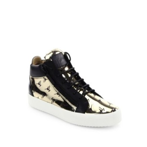 Metallic Logo Embossed Leather Sneakers