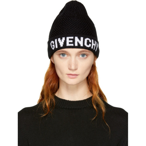 GIVENCHY Black & White Logo Beanie