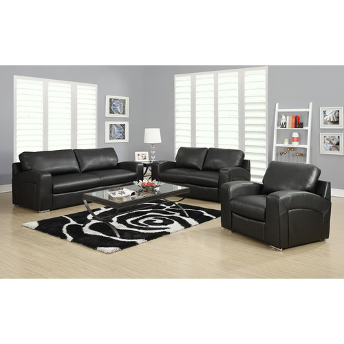 Monarch Specialties CHAIR - BLACK BONDED LEATHER / MATCH