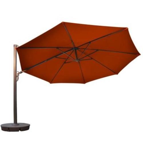 Island Umbrella Victoria 13 ft. Octagonal Cantilever Patio Umbrella in Terra Cotta Sunbrella Acrylic