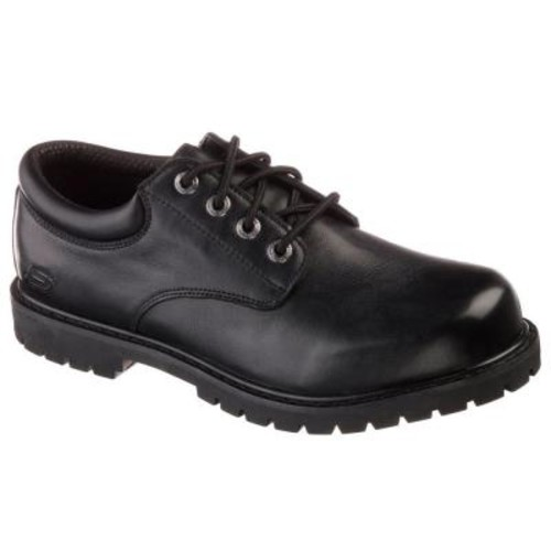 Skechers Cottonwood - Elks Men Size 15 Black Leather Work Shoe