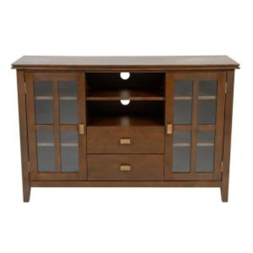 Simpli Home Artisan Medium Auburn Brown Storage Entertainment Center