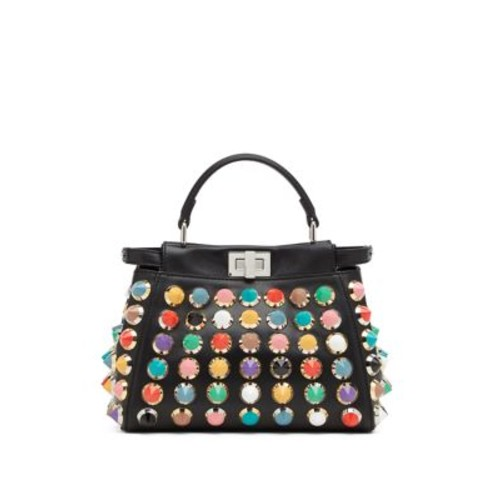 FENDI Peekaboo Mini Studded Leather Satchel