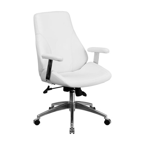 Offex Mid-Back White Leather Executive Swivel Office Chair