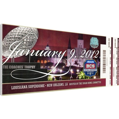 That's My Ticket Alabama Crimson Tide 2012 BCS National Championship Canvas Mega Ticket