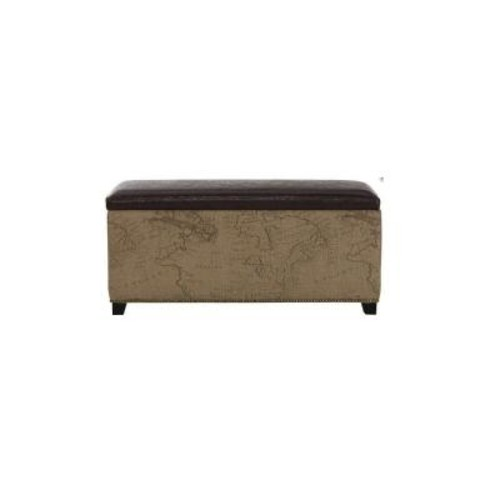 Home Decorators Collection Chambers 42 in. W Rectangular Storage Shoe Bench in Brown