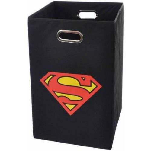 Modern Littles Superman Logo Folding Laundry Hamper; Black