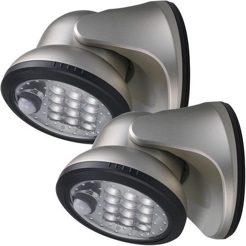 Light It! 12-Light Silver Motion Activated Outdoor Integrated LED Wireless Area Light (2-pack)