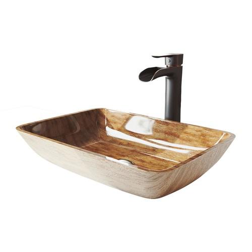 VIGO 18 Rectangular Amber Sunset Glass Vessel Bathroom Sink Set With Niko Vessel Faucet In Antique Rubbed Bronze