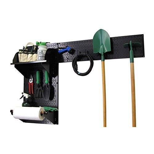Wall Control 30-GRD-200 BB Pegboard Garden Supplies Storage and Organization Garden Tool Organizer Kit with Black Pegboard and Black Accessories [Black/Black]