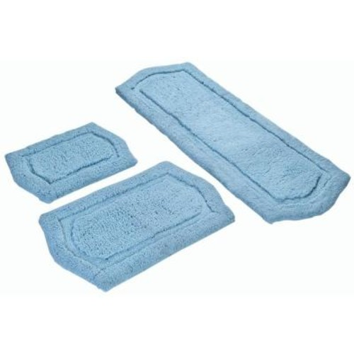 Chesapeake Merchandising 22 in. x 60 in., 21 in. x 34 in. and 17 in. x 24 in. 3-Piece Paradise Memory Foam Bath Rug Set in Spa Blue