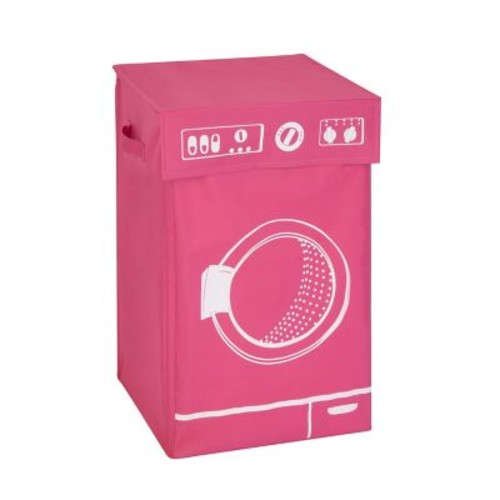 Honey Can Do Graphic Washing Machine Laundry Hamper, Pink