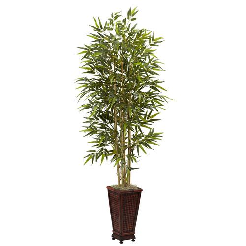 Nearly Natural 6 Bamboo Tree w/Decorative Planter Silk