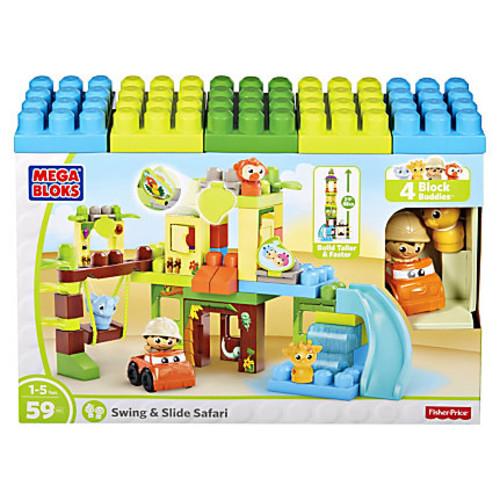 Mega Bloks Swing/Slide Safari Building Blocks Set - Theme/Subject: Animal, Fun - Skill Learning: Building, Sharing - 59 Pieces