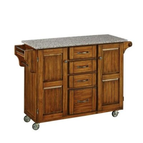 Create-a-Cart Warm Oak Kitchen Cart With Salt & Pepper Granite Top