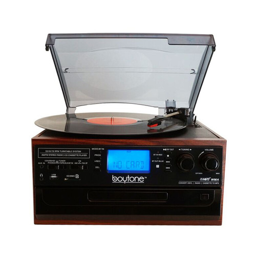 Boytone 970101328M Bluetooth IN & OUT Classic Style Record Player Turntable