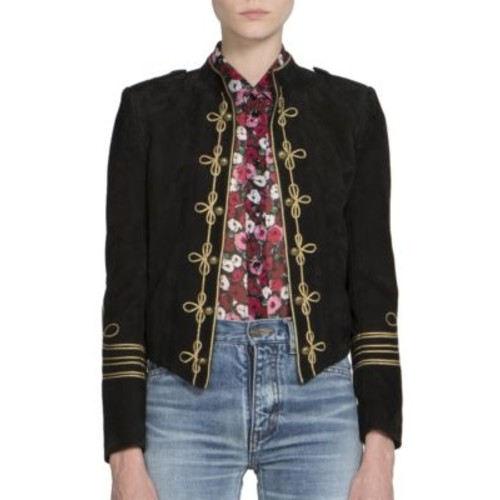 SAINT LAURENT Suede Officer Jacket