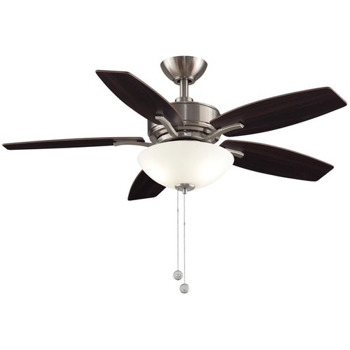 Fanimation Aire Deluxe 44-inch Ceiling Fan - Brushed Nickel with LED Bowl Light Kit - Brushed Nickel