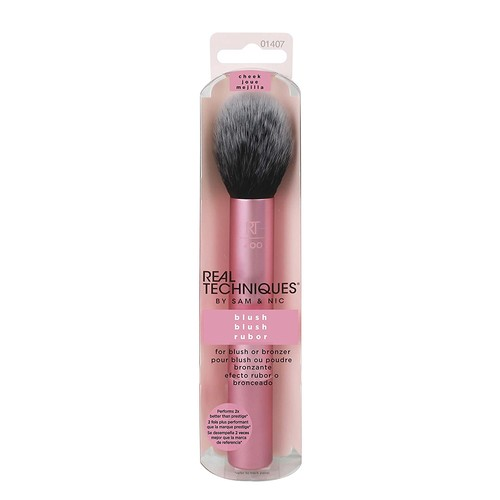 Real Techniques Cruelty Free Blush Brush With Synthetic, Hand Cut, Taklon Bristles, and Aluminum Ferrules, for Setting, Highlighting, Blending, and Applying Blush [Blush Finish]