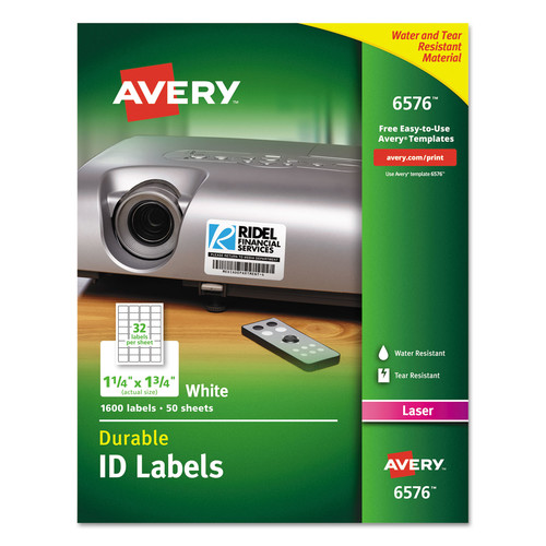 Avery Permanent Durable ID Labels With TrueBlock, 1 1/4