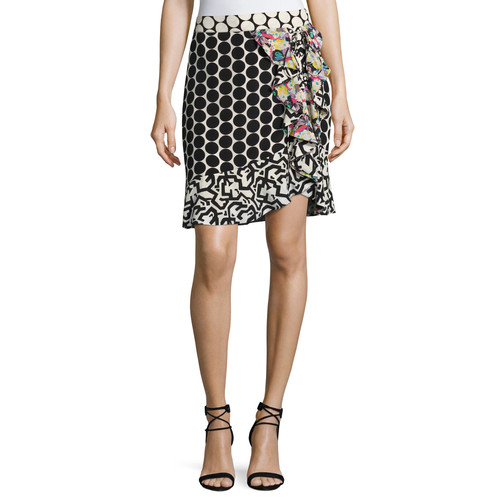 ETRO Mixed Polka Dot Ruffle Skirt, Black Pattern