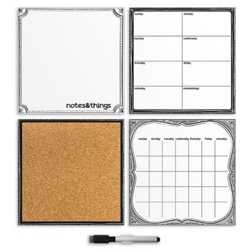 Wall Pops!  Dry Erase Calendar and Cork Board Set - White