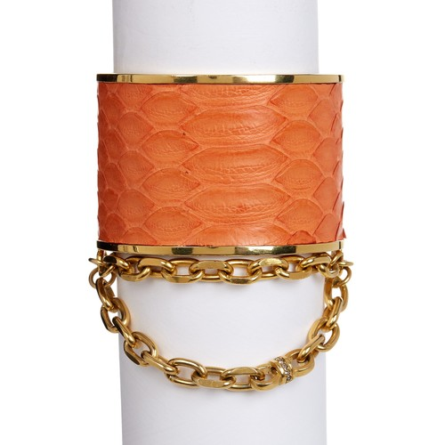 Natalie Snake Embossed Chain Open Cuff