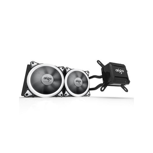 Aigo Water Liquid CPU Cooler T240 240mm Radiator Quiet Fan Water Cooler Easy Installation All-In-One Liquid CPU Cooler with Led Halo White Lights, INTEL/AMD with AM4 Support (240mm)
