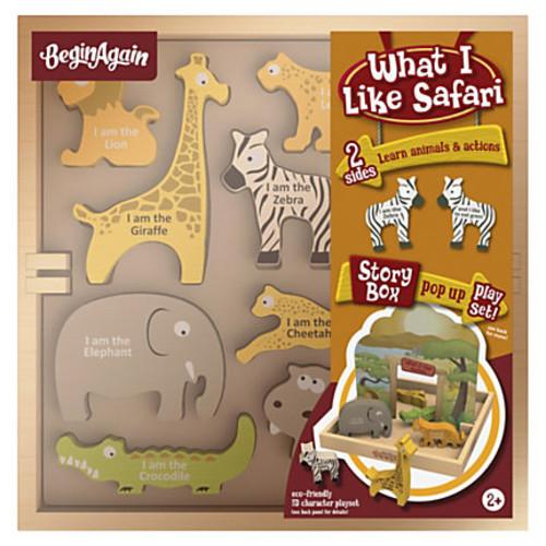 BeginAgain Toys What I Like Safari Story Box - Theme/Subject: Animal, Fun, Learning - Skill Learning: Animal Name, Landscape, Reading, Animal Classification, Imagination, Self-confidence