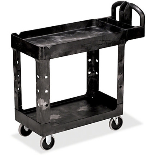Rubbermaid Commercial HD 2-Shelf Utility Cart with Lipped Shelf (Small) - 2 Shelf - 500 lb Capacity - 4 Casters - 5