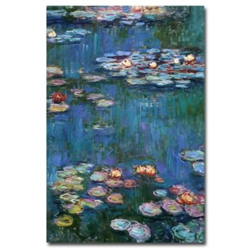 Trademark Fine Art Claude Monet, 'Waterlilies Classic' Canvas Art 14x19 Inches
