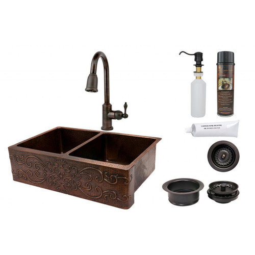 33-inch Scroll Design Copper Hammered 50/50 Double Basin Sink and Faucet Package