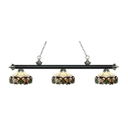 Filament Design Leland 3-Light Matte Black and Brushed Nickel Island Light with Tiffany Glass Shades