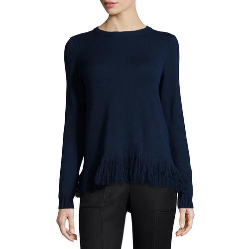 RALPH LAUREN Fringe-Trim Cashmere Sweater, Petrol