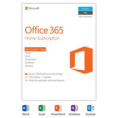 Office 365 Home, 1-year subscription, 5 PCs/Macs, Product Key Card