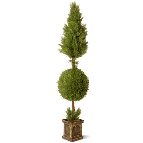 National Tree Company 72 in. Juniper Cone and Ball Topiary with Square Pot