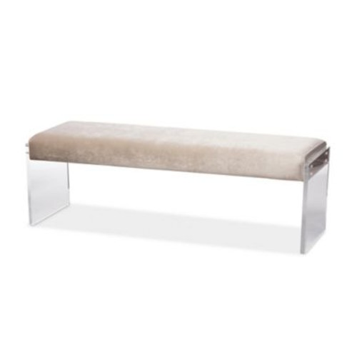 Baxton Studio Hildon Upholstered Lux Bench with Acrylic Legs in Beige