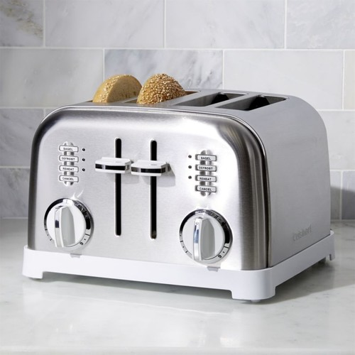 Cuisinart  Classic 4-Slice White/Brushed Stainless Steel Toaster