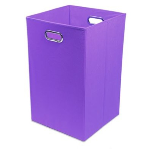 Modern Littles Color Pop Canvas Folding Laundry Bin in Solid Purple