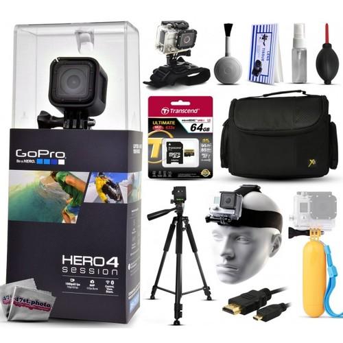 GoPro HERO4 Hero 4 Session + Tripod, Case, HDMI, Wrist/Head Strap, Bobber & More
