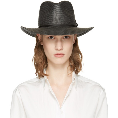 Black Packable Straw Fedora