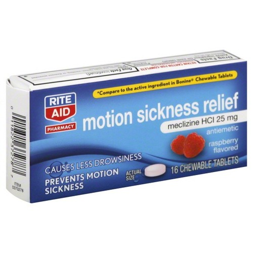 Rite Aid Pharmacy Motion Sickness Relief, 25 mg, Chewable Tablets, Raspberry Flavored, 16 tablets