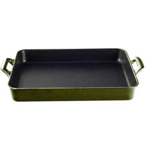 La Cuisine Shallow 10.2'' Cast Iron Roasting Pan; Green