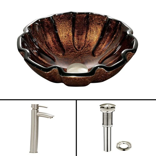 VIGO Glass Vessel Sink in Walnut Shell and Shadow Faucet Set in Brushed Nickel