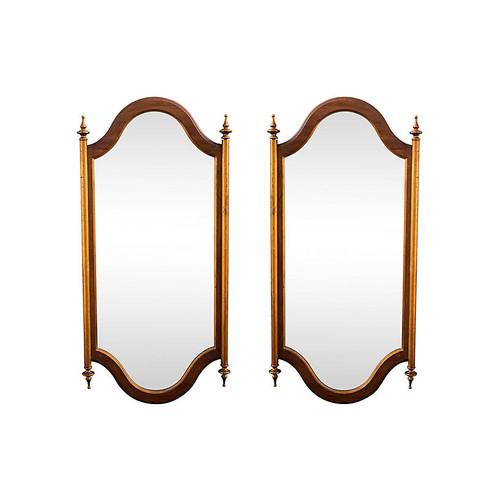 Mid-Century Modern Walnut Mirrors, Pair
