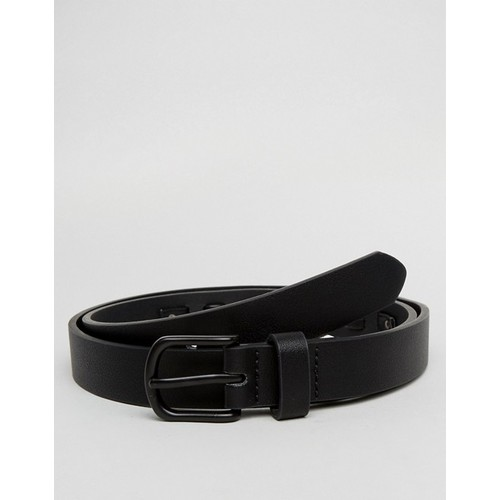 ASOS Faux Leather Slim Belt In Black With Coated Trims