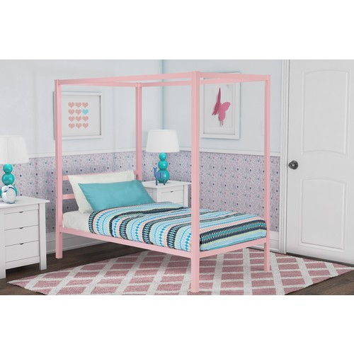 Dorel Modern Twin Pink Metal Canopy Bed