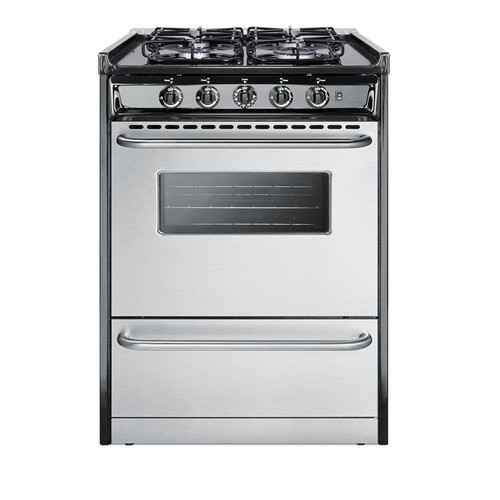 Summit Appliance 24 in. 2.9 cu. ft. Slide-In Gas Range in Stainless Steel
